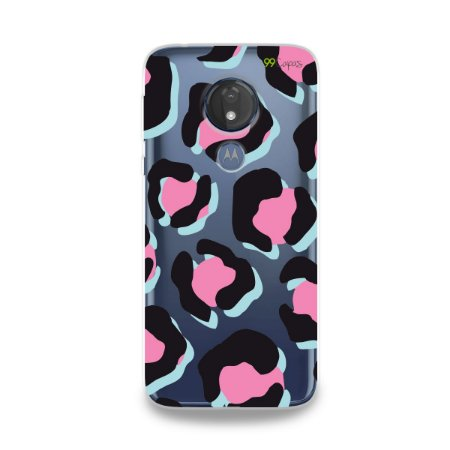 Capa para Moto G7 Power - Animal Print Black &Pink