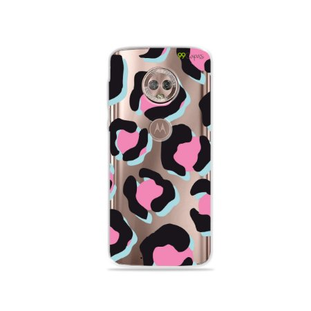 Capa para Moto G6 Plus - Animal Print Black & Pink