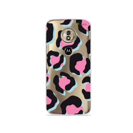 Capa para Moto G6 Play - Animal Print Black & Pink