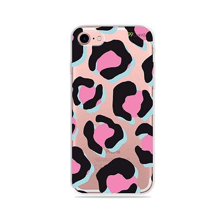 Capa para iPhone 7 - Animal Print Black & Pink