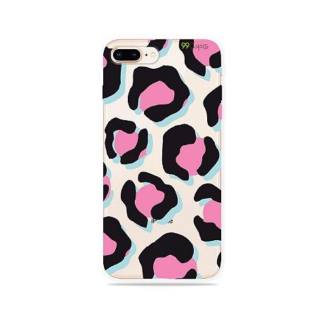 Capa para iPhone 7 Plus - Animal Print Black & Pink