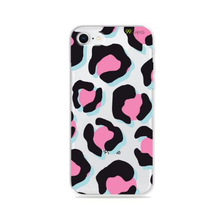 Capa para iPhone 8 - Animal Print Black & Pink