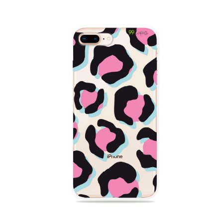Capa para iPhone 8 Plus - Animal Print Black & Pink