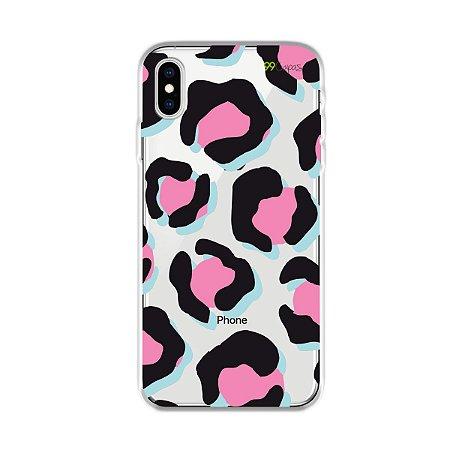 Capa para iPhone XS Max - Animal Print Black & Pink