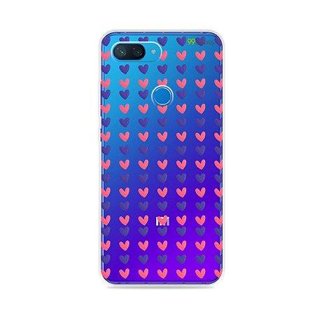 Capa para Xiaomi Mi 8 Lite - Corações Roxo e Rosa