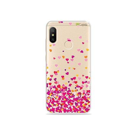 Capa para Xiaomi Mi A2 Lite - Corações Rosa