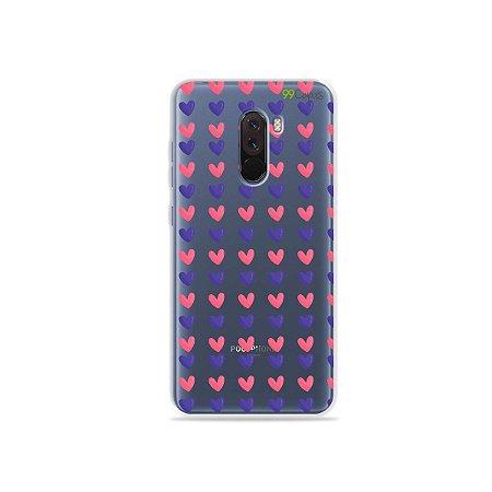Capa para Xiaomi Pocophone F1 - Corações Roxo e Rosa