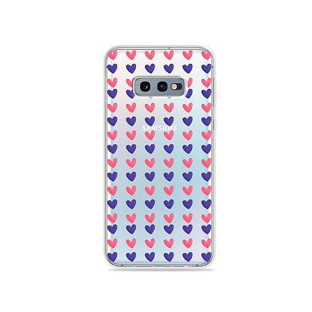 Capa para Galaxy S10e - Corações Roxo e Rosa