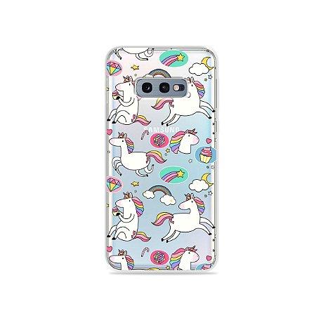 Capa para Galaxy S10e - Unicórnios Felizes