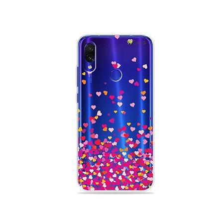 Capa para Xiaomi Redmi 7 - Corações Rosa