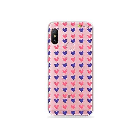 Capa para Xiaomi Redmi Note 6 - Corações Roxo e Rosa