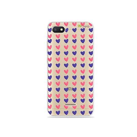 Capa para Xiaomi Redmi 6A - Corações Roxo e Rosa