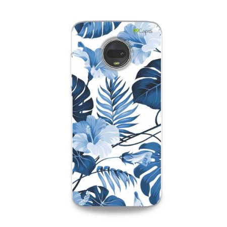 Capa para Moto G7 - Flowers in Blue