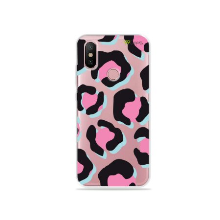 Capa para Xiaomi Mi A2 - Animal Print Black & Pink