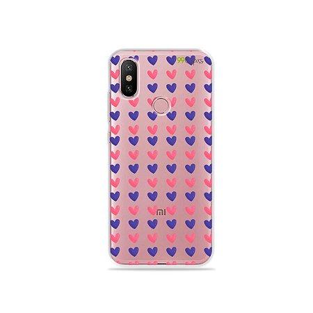 Capa para Xiaomi Mi A2 - Corações Roxo e Rosa