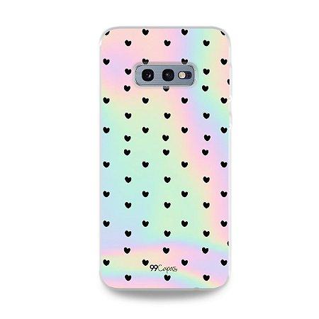 Capa para Galaxy S10e - Holográfica Corações