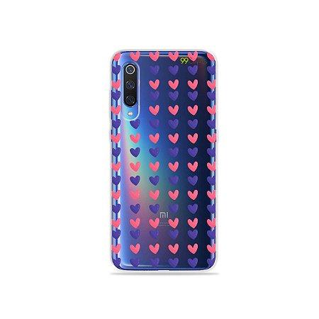 Capa para Xiaomi Mi 9 - Corações Roxo e Rosa