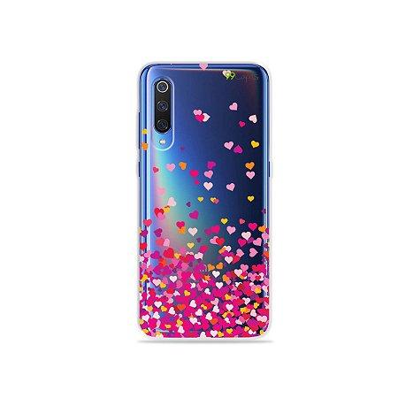 Capa para Xiaomi Mi 9 - Corações Rosa
