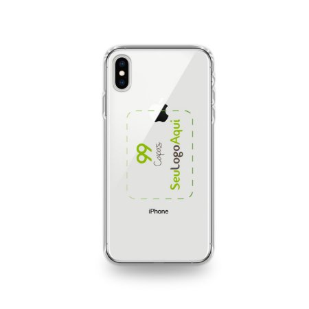 Capa Anti-shock transparente para iPhone com sua logo no meio