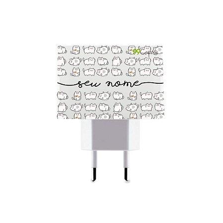 Carregador Duplo USB de Parede Personalizado Com Nome - Lazy Cat