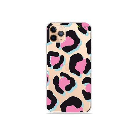 Capa para iPhone 11 Pro - Animal Print Black & Pink