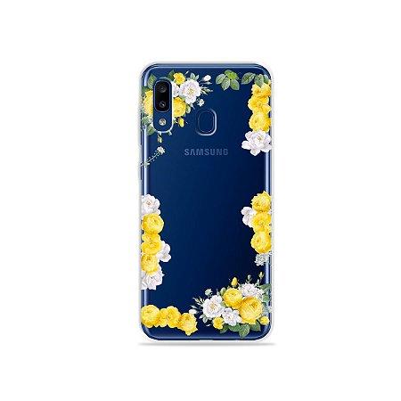 Capa para Galaxy A20 - Yellow Roses