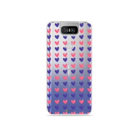 Capa para Zenfone 6 - Corações Roxo e Rosa