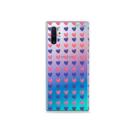 Capa para Galaxy Note 10 - Corações Roxo e Rosa
