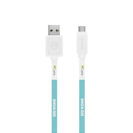 Cabo Micro USB Branco com nome - Color Azul