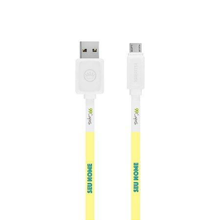 Cabo Micro USB Branco com nome - Color Spring