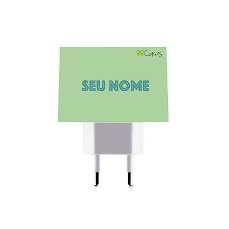 Carregador Duplo USB de Parede Personalizado Com Nome - Color Menta