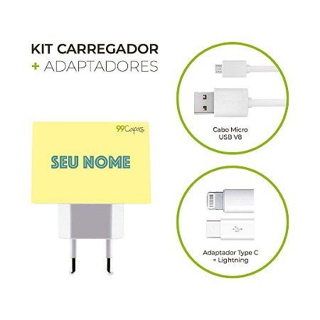 Kit Carregador Personalizado Duplo USB de Parede + Cabo Micro Usb Personalizado + Adaptador Type C  - Color Spring