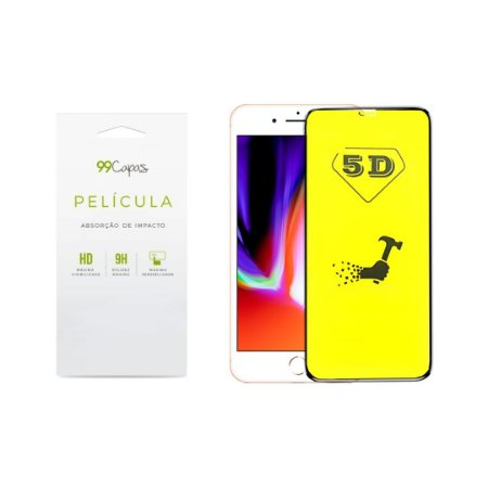 Película de Gel 5D (flexível) para iPhone 8 Plus - 99Capas