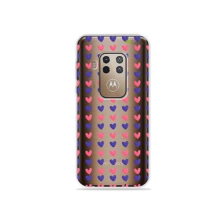 Capa para Moto One Zoom - Corações Roxo & Rosa
