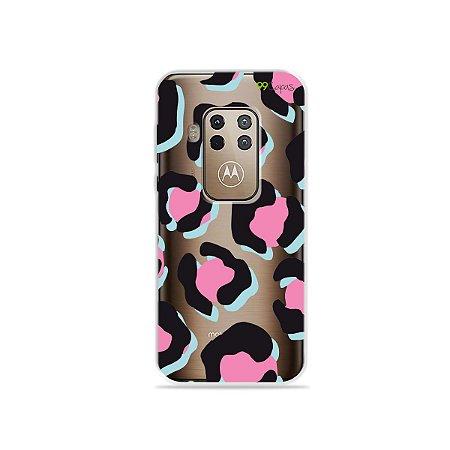 Capa para Moto One Zoom - Animal Print Black & Pink