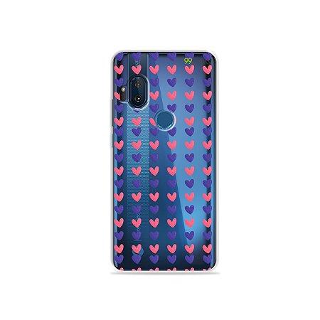 Capa para Moto One Hyper - Corações Roxo & Rosa