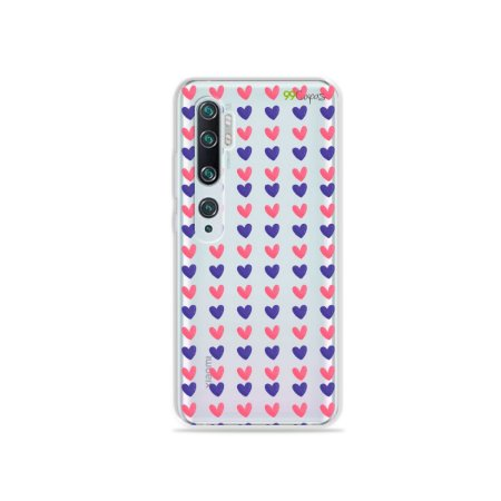 Capa para Xiaomi Mi Note 10 - Corações Roxo & Rosa