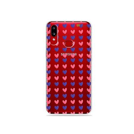 Capa para Galaxy A10s - Corações Roxo & Rosa