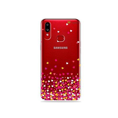 Capa para Galaxy A10s - Corações Rosa