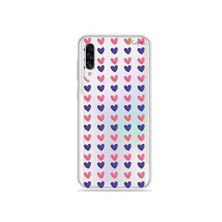 Capa para Galaxy A30s - Corações Roxo e Rosa