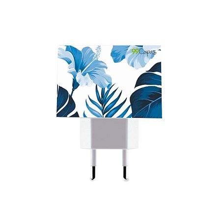 Carregador Personalizado Duplo USB de Parede - Flowers in Blue