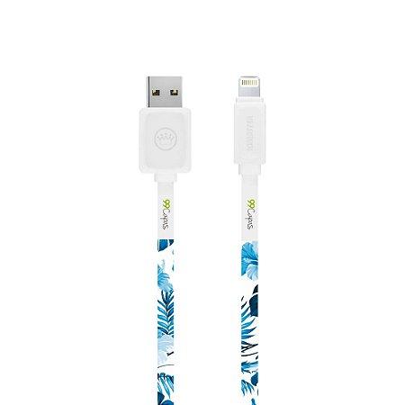 Cabo Lightning Branco Personalizado - Flowers in Blue