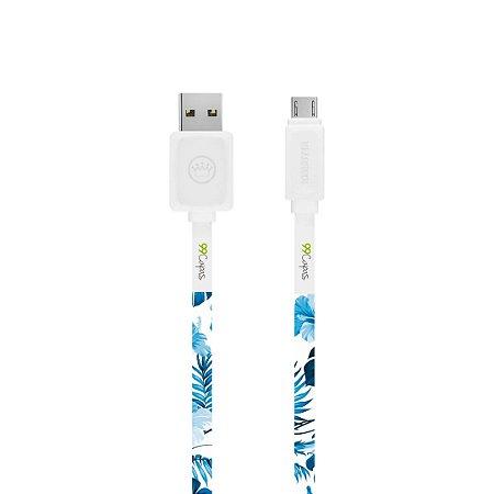 Cabo Micro USB Branco Personalizado - Flowers in Blue