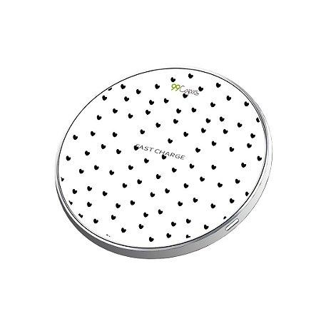 Carregador Wireless sem fio - Corações Preto