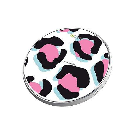 Carregador Wireless sem fio - Animal Print Black & Pink