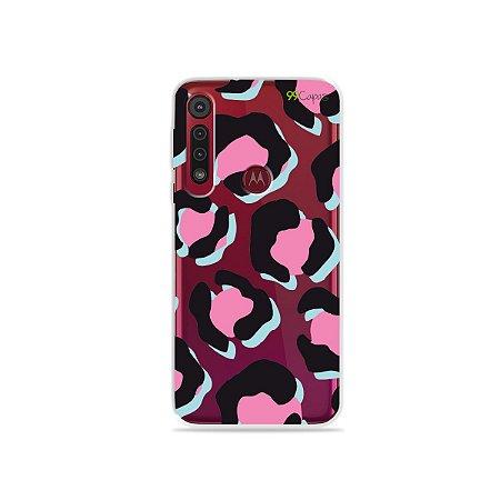 Capa para Moto G8 Play - Animal Print Black & Pink