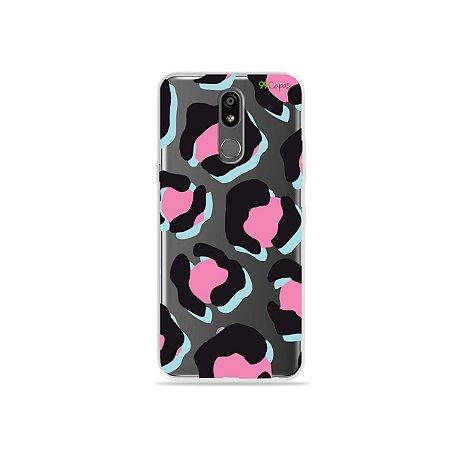 Capinha (transparente) para LG K12 Plus - Animal Print Black & Pink