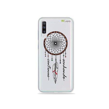 Capinha (transparente) para Galaxy A70s - Continue Sonhando