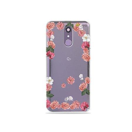 Capinha (transparente) para LG Q7 - Pink Roses