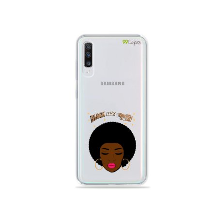 Capinha (transparente) para Galaxy A70 - Black Lives